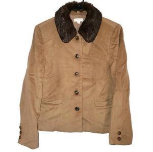 Charter Club 100% Wool Blazer Jacker W Faux Fur 6